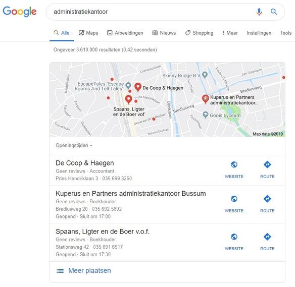 Google Mijn Bedrijf Google Mijn Bedrijf lokaal zoeken zoekresultaat 1