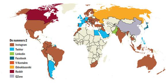 Dossier social media wereldkaart