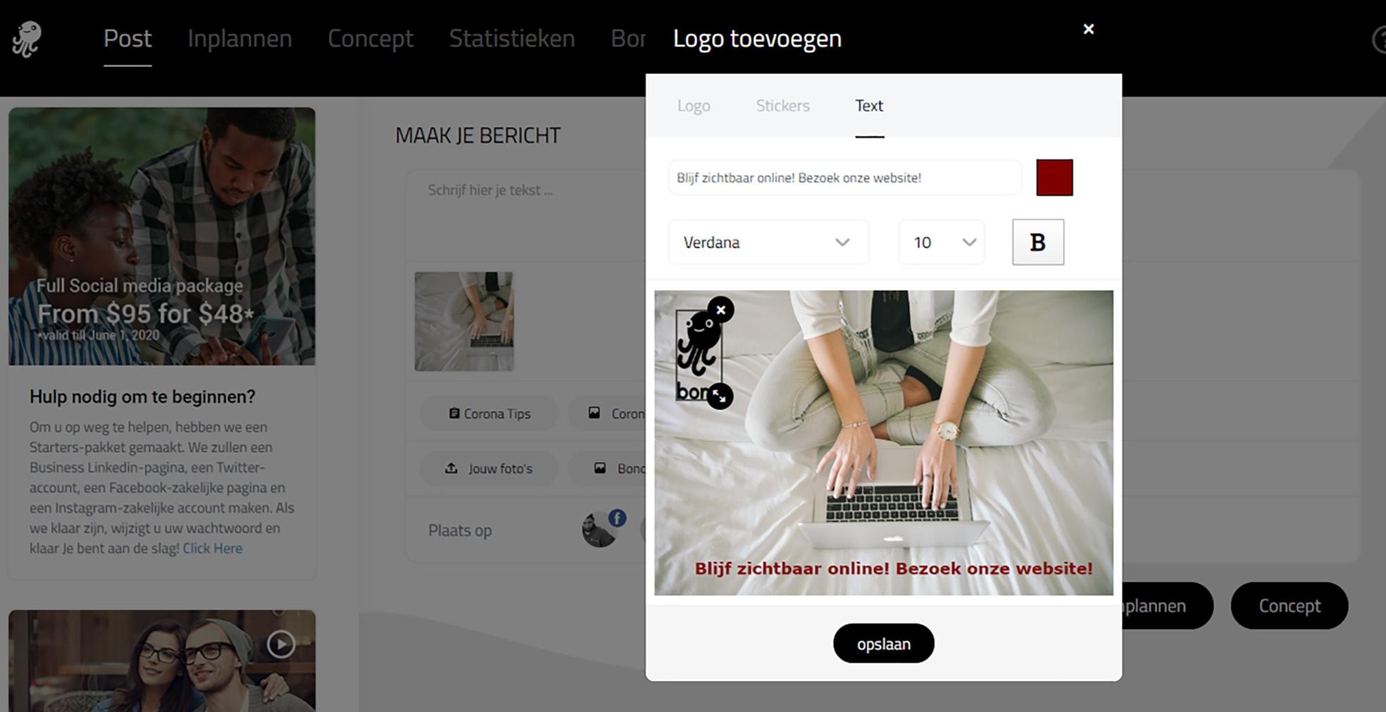 Screenshot homepage Bonc