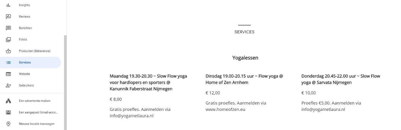 Services yogalessen