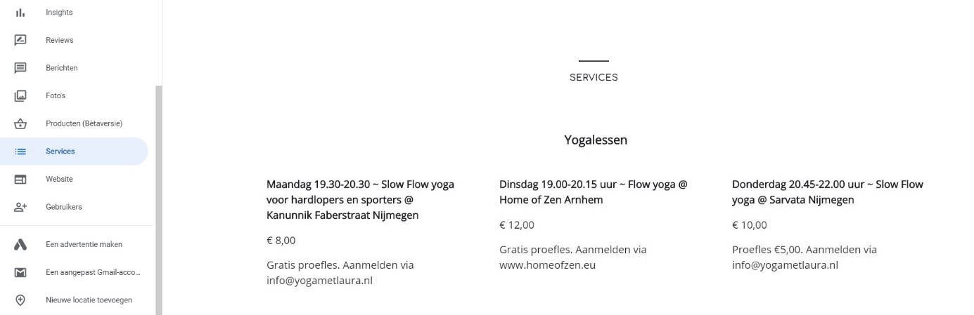 Services yogalessen