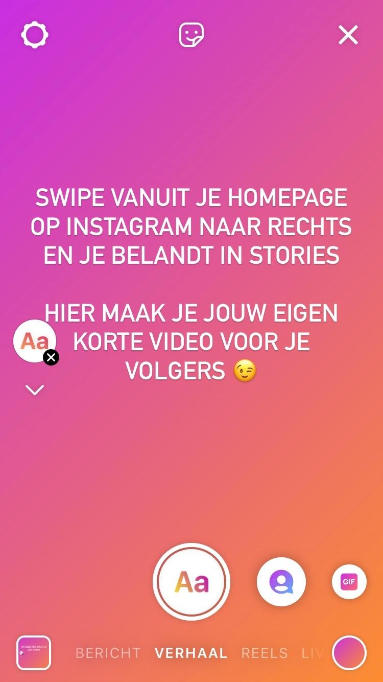 Voorbeeld storie bedrijfsaccount instagram