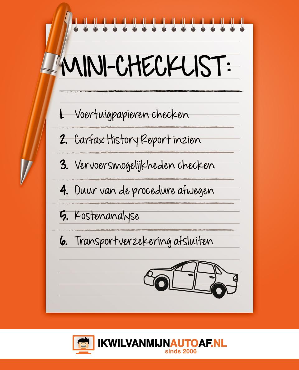 Auto importeren checklist