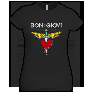 Bon Giovi Female T-Shirt (White & Blue Print)