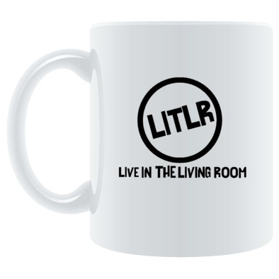 Live In The Living Room Logo Circle And Writing Mug