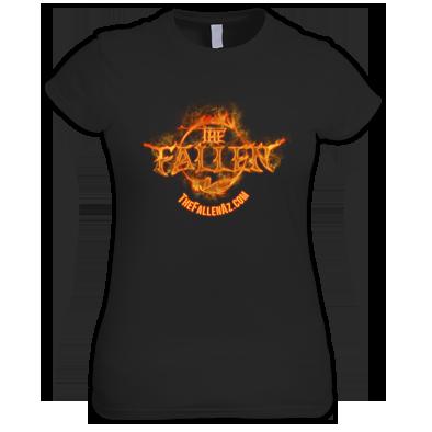 The Fallen Women's Black T-Shirt - FIRE Logo