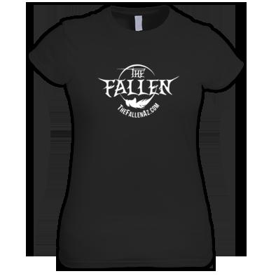 The Fallen Women's Black T-Shirt - WHITE Logo