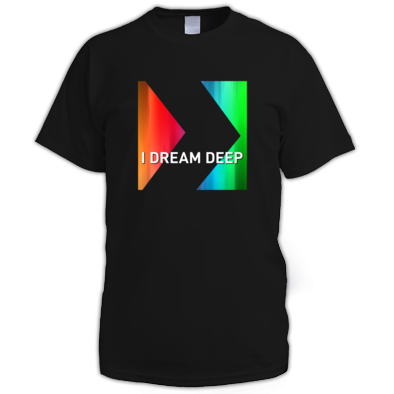 I DREAM DEEP Rainbow Logo on Black Shirt