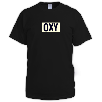 EXHALE OXY LOGO CENTRE CHEST BLACK TEE