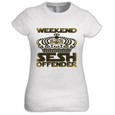 Weekend sesh offender Women's Gold print