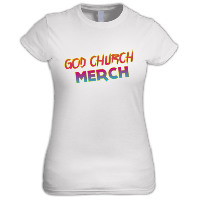 God Church Merch Women's Shirt: Orange-Pink