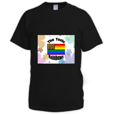 Toxic Rainbow Flag w/ Flower Power Men's T-shirt