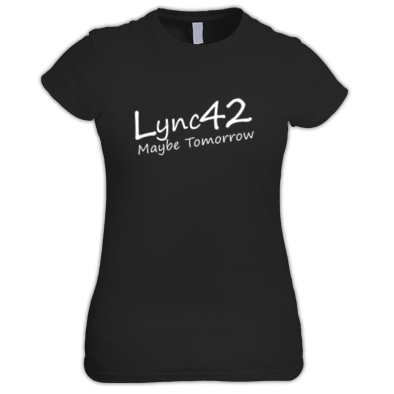 Lync42 Maybe Tomorrow WHITE Logo - Ladies