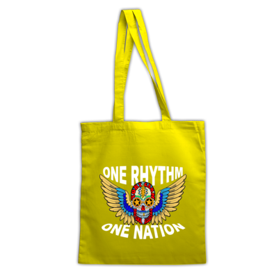 Skull Wings One Rhythm One Nation Tote Bag