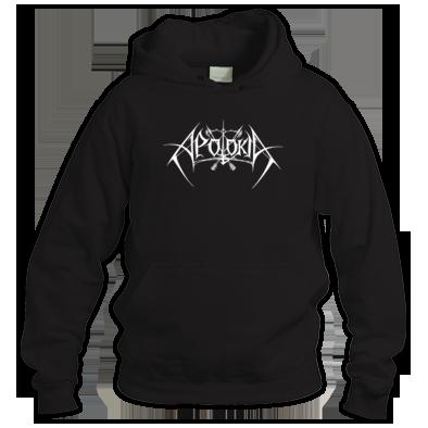 APOLOKIA Logo. Classic white logo on black hooded sweater. Unisex