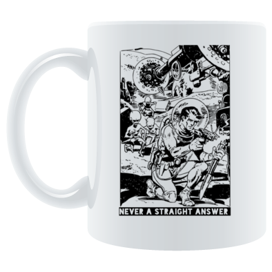 Never a straight answer spacemen mug