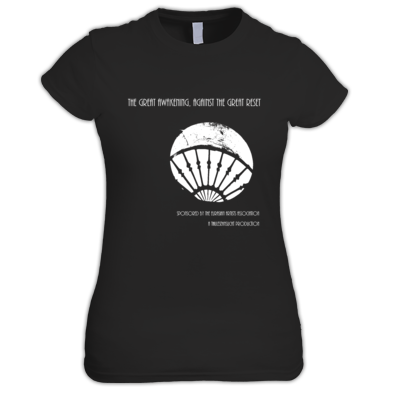 """""""The Great Awakening, Against The Great Reset"""" Compilation Women Black T-Shirt (choose:White on Black or Red on Black or only for W Black on Red)"""