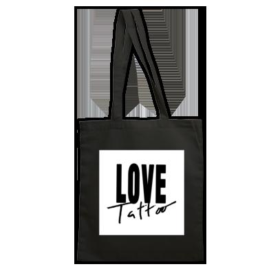 Bag - Black on White Love Tattoo Logo