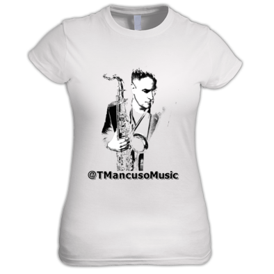 Ladies Junior Sized T Mancuso Music - Sax - Black Letters - T. Mancuso Music