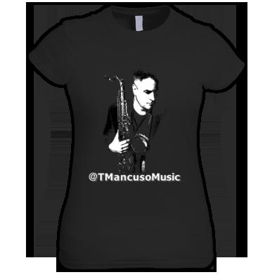 Ladies Junior Sized T Mancuso Music - Sax - White Letters