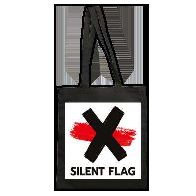 SILENT FLAG TOTE BAG LOGO (black or red)