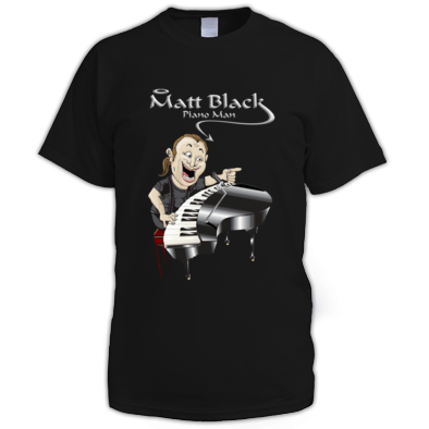 Men's T-Shirt with Caricature and Silver Logo