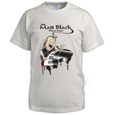Men's T-Shirt with Caricature and Black Logo