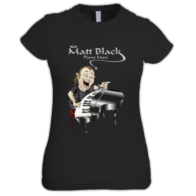 Women's T-Shirt with Caricature and Silver Logo