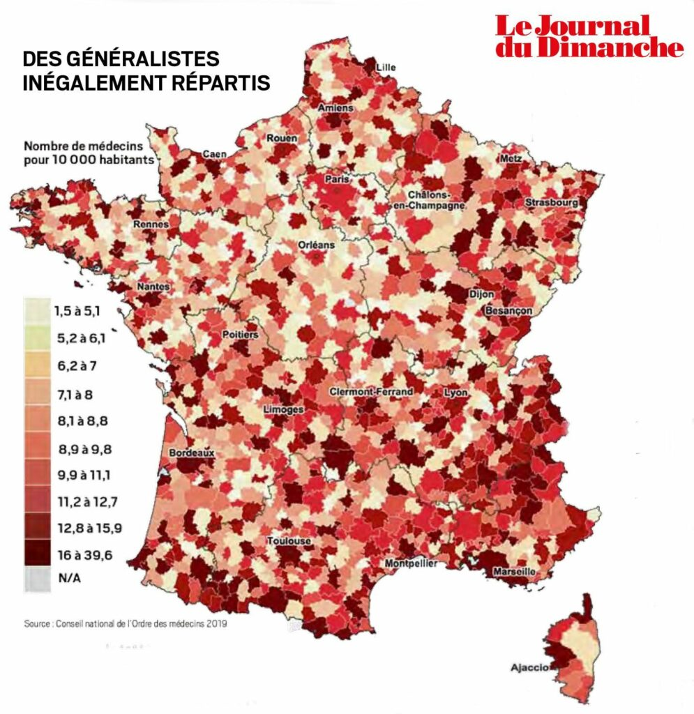 Blog Doctoome | Les déserts médicaux se multiplient en France- carte actuelle des déserts médicaux en france