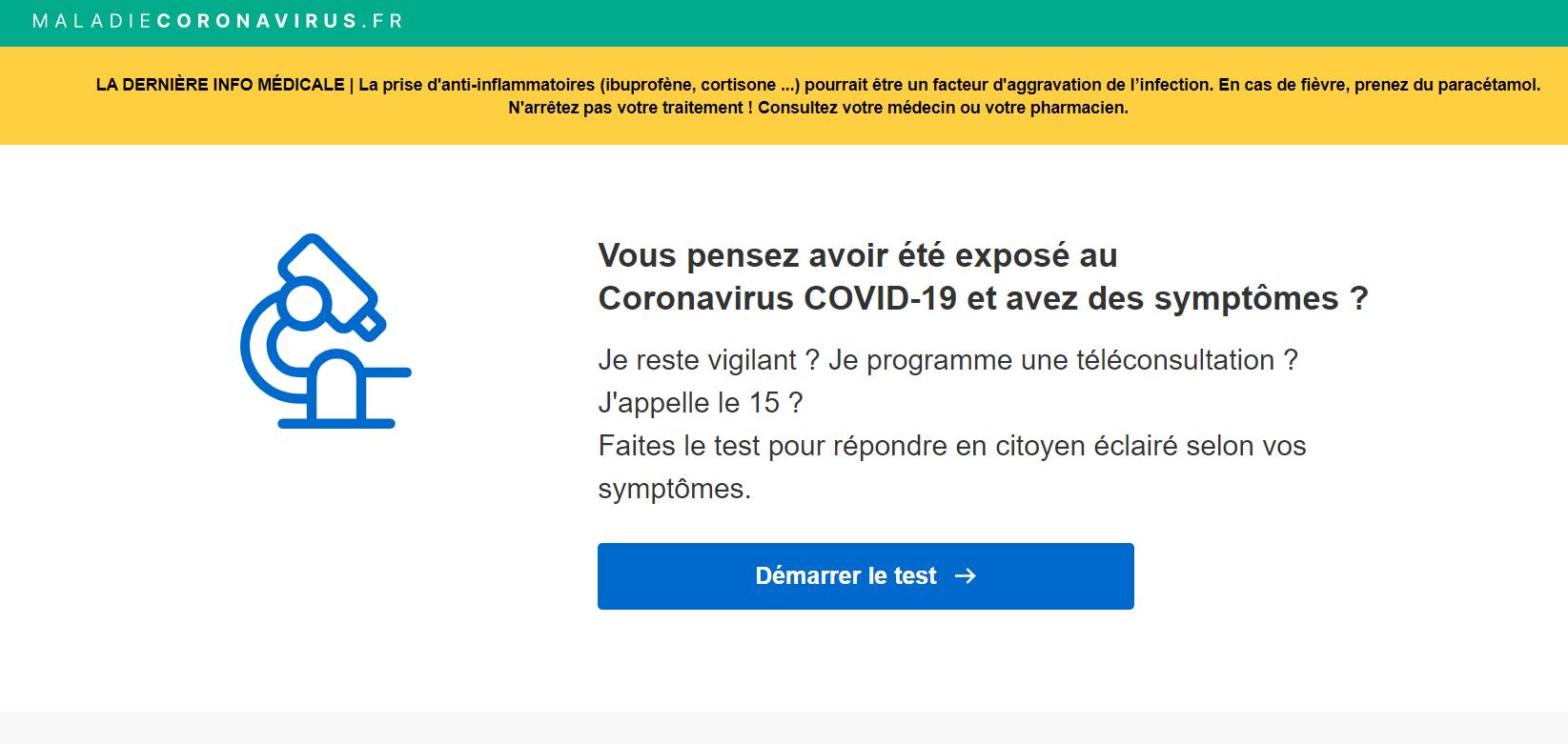 Blog Doctoome - Maladiecoronavirus.fr : un site pour s'auto-tester