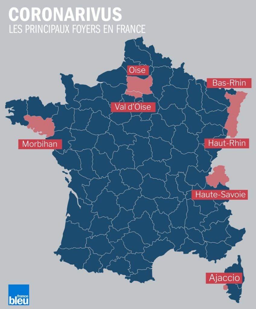 les principaux foyers de cas de coronavirus en France - vers un stade 3 ?