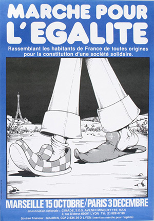 "Cartell de convocatòria de la ""Marche des Beurs"", 1983."