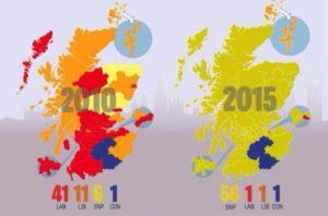 Mapa amb la composició política de les circumscripcions electorals escoceses, tal com van quedar el 2011 i ara fa uns dies.