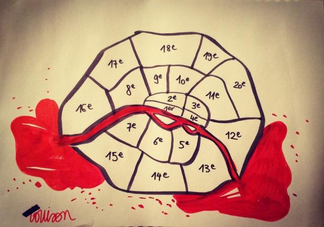 Dibuix de l'il·lustrador Louison, amb el riu Sena vessant sang pels extrems del mapa dels districtes parisencs