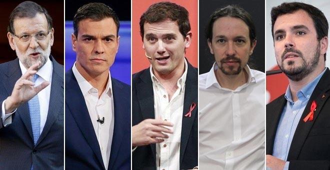 Els candidats dels cinc principals partits d'àmbit estatal en les pròximes eleccions del 20D són homes. D'esquerra a dreta, Rajoy (PP), Sánchez (PSOE), Rivera (C's), Iglesias (Podem) i Garzón (IU) / www.público.es