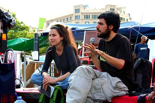 Enric Duran durant l'acampada del 15M a Plaça Catalunya. Foto: Zoraida Roselló