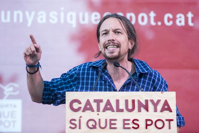 Pablo Iglesias, en un míting de Catalunya Sí Que Es Pot / CSQP