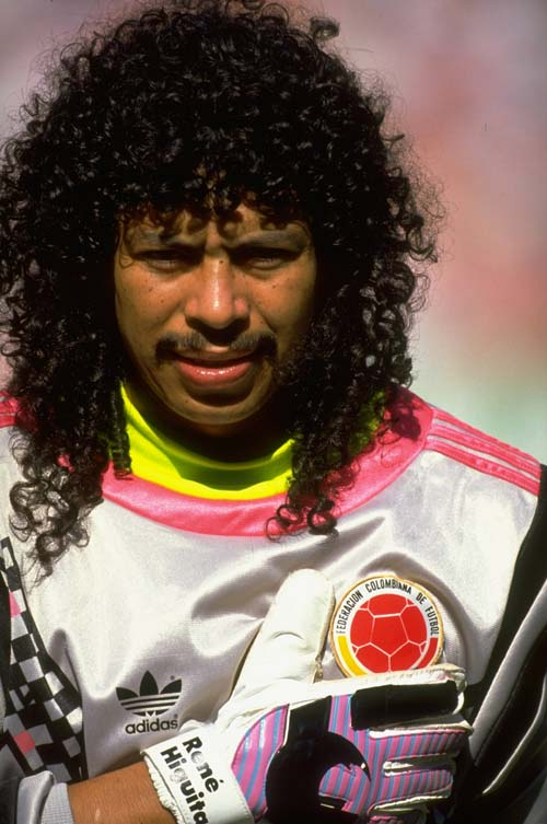 23 Jun 1990: Portrait of Rene Higuita of Columbia during the World Cup Second Round match against Cameroon at the San Paolo Stadium in Naples, Italy. Cameroon won the match 2-1. Mandatory Credit: David Cannon /Allsport