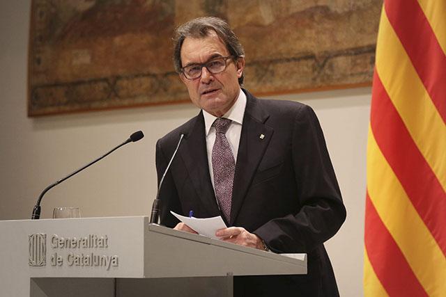 Artur Mas durant la compareixença d'ahir per anunciar l'acord