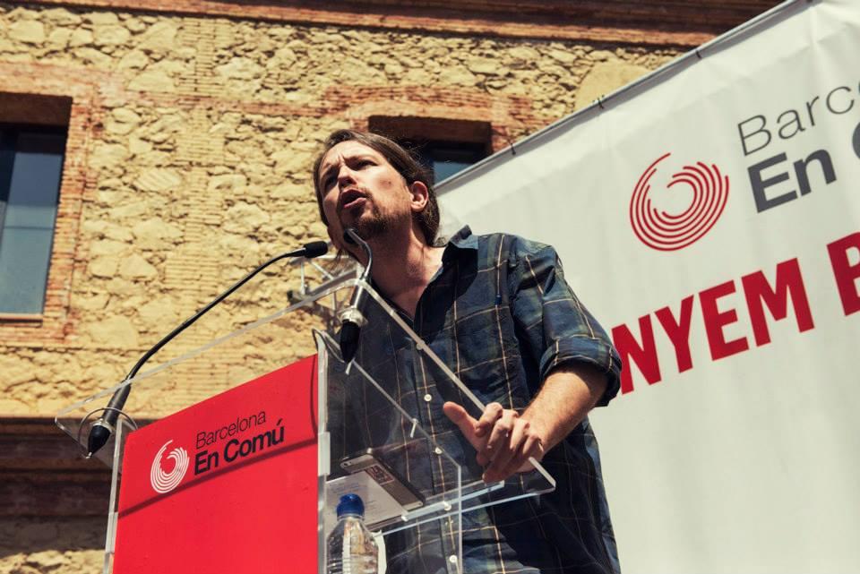 Pablo Iglesias al míting de BComú a Nou Barris. Foto: Barcelona en Comú