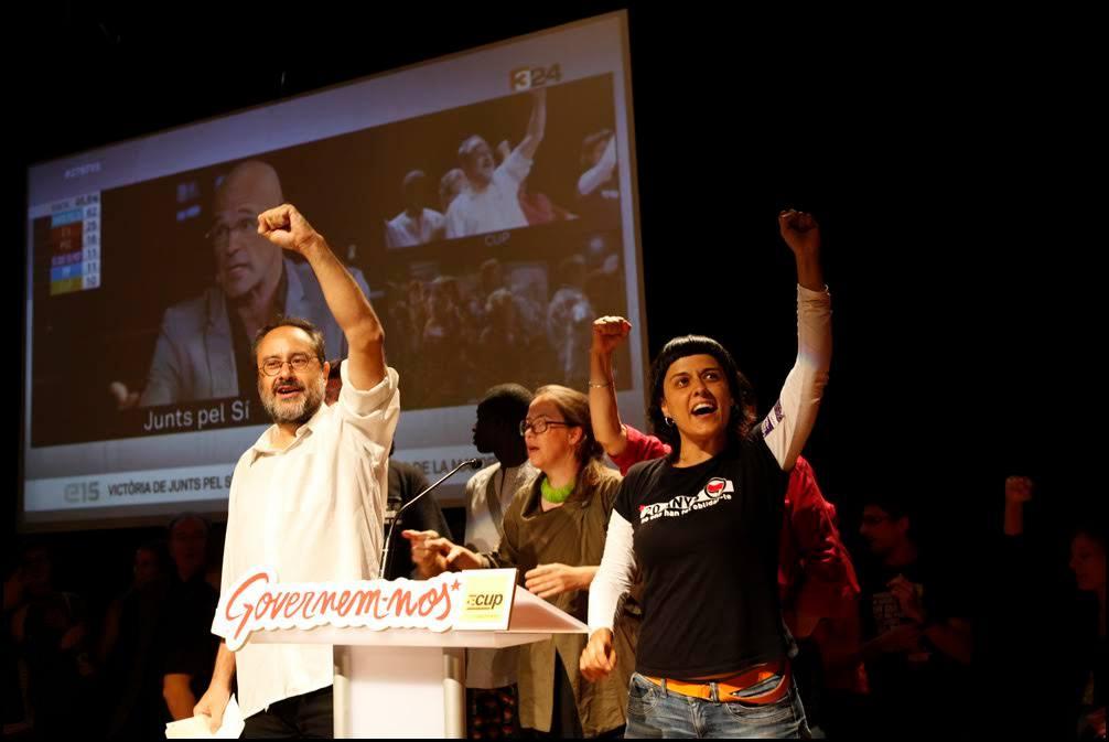 Antonio Baños i Anna Gabriel celebren la nit electoral. Foto: Oriol Clavera