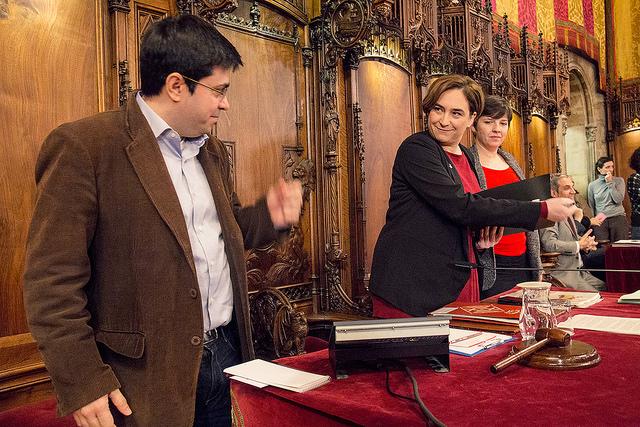 Ada Colau amb els tinents d'alcalde Gerardo Pisarello i Laia Ortiz. Foto: Ajuntament de Barcelona