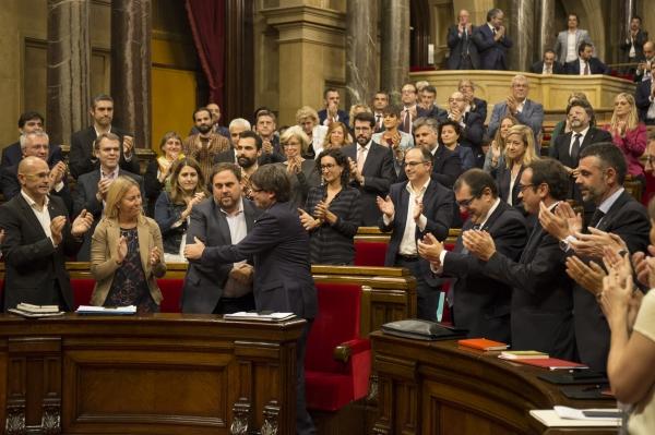Puigdemont i Junqueras al Parlament de Catalunya. Foto: Parlament.cat