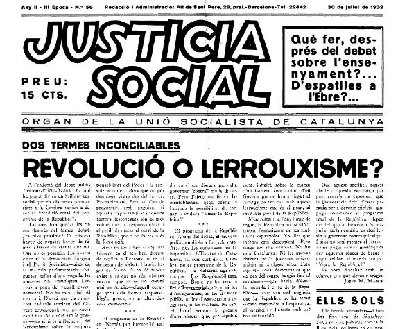 Portada de la revista 'Justícia Social' / FUNDACIÓ CAMPALANS