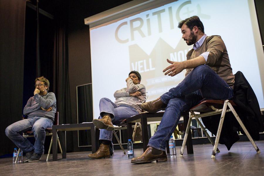 Gabriel Rufian i Xavier Domènech, en un #DebatCRÍTIC, amb Gabriela Serra, fet el desembre passat / JORDI BORRÀS