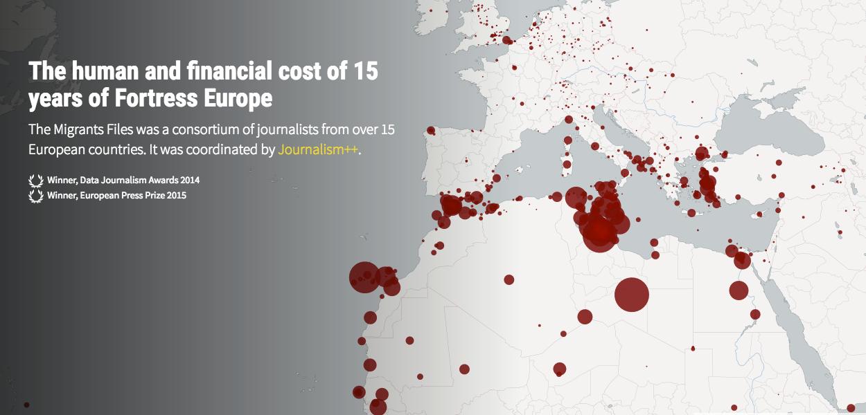 Infografia interactiva amb les morts de migrants en el viatge cap a Europa