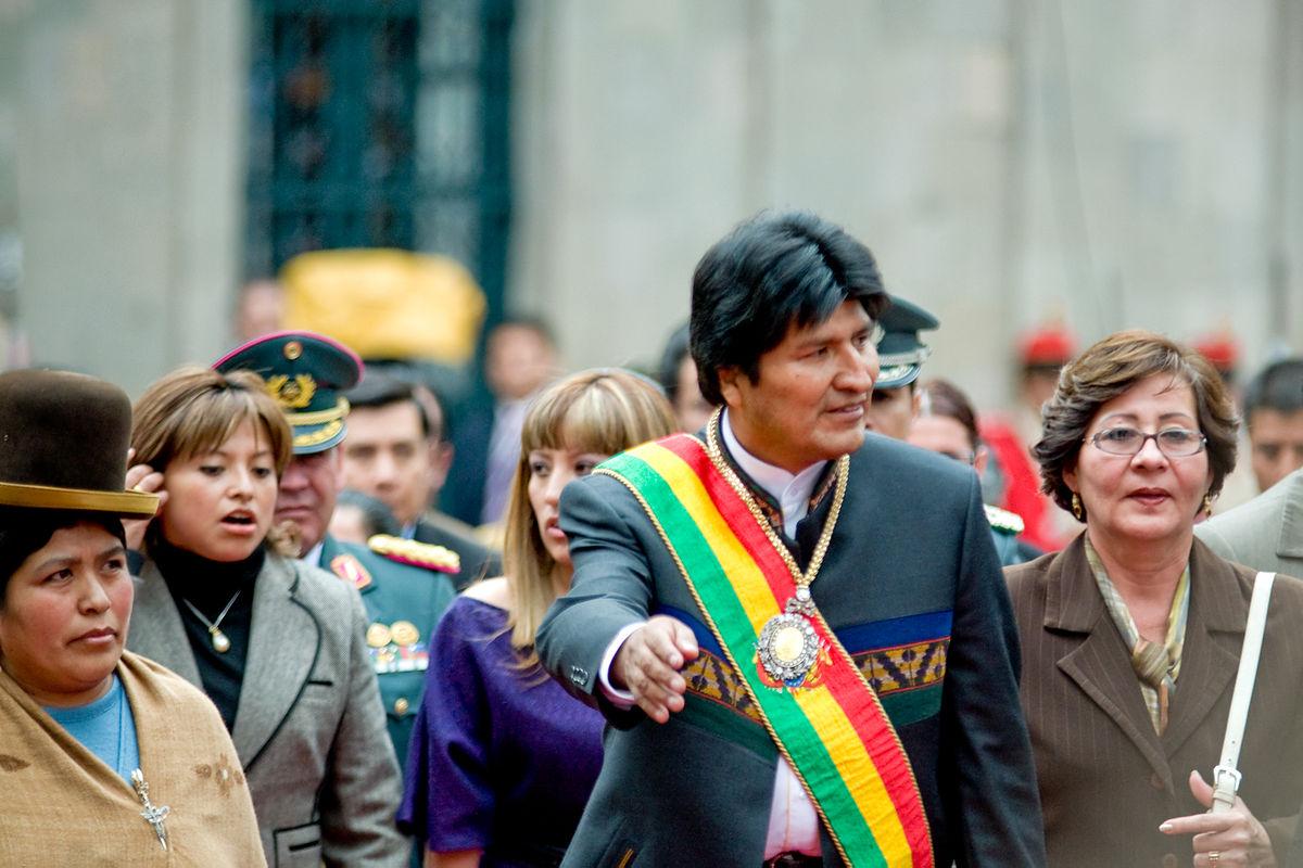 El president de Bolívia, Evo Morales, amb la banda presidencial / JOEL ÀLVAREZ