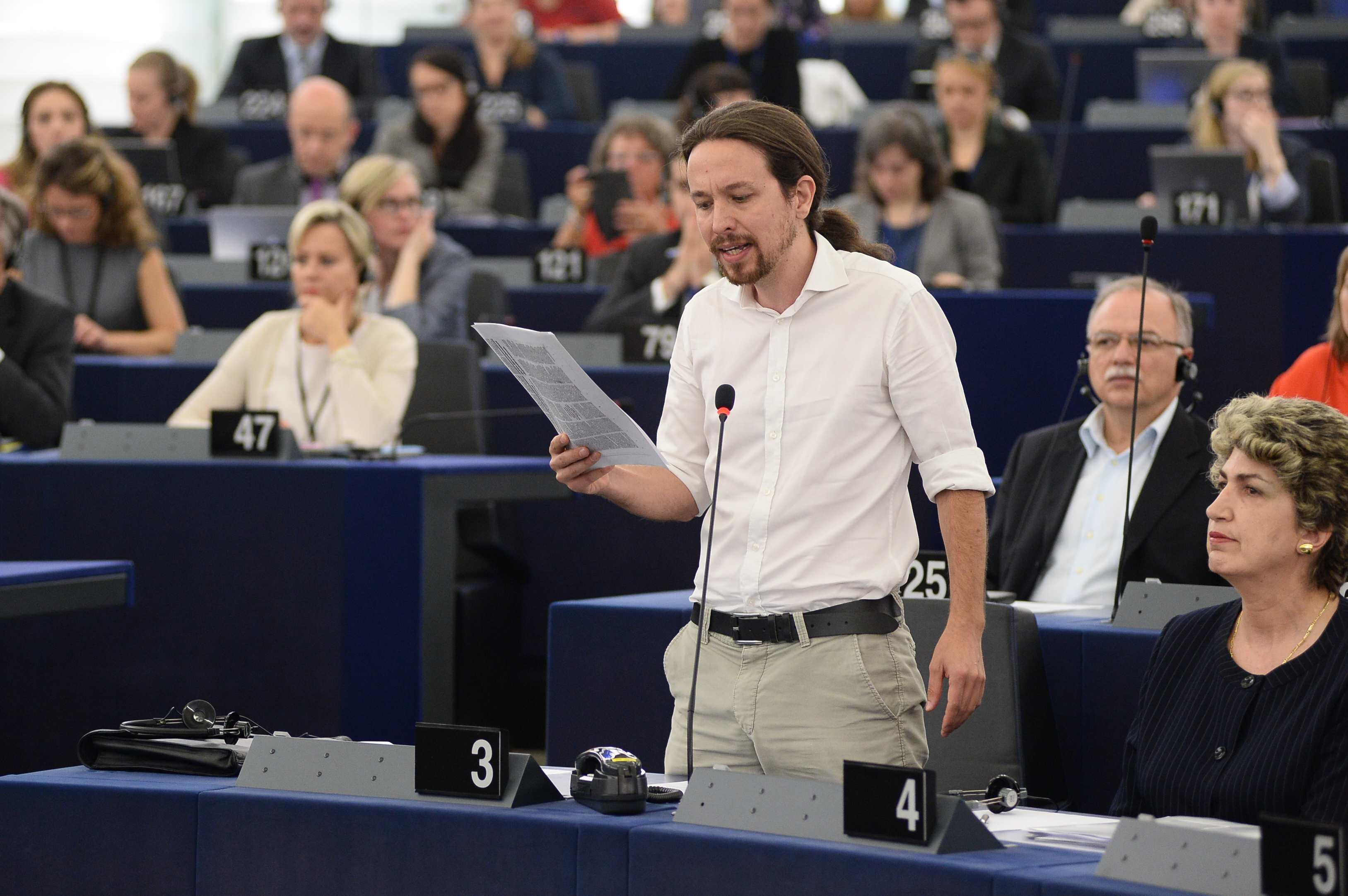 L'eurodiputat Pablo Iglesias, actualment secretari general de Podemos / PARLAMENT EUROPEU