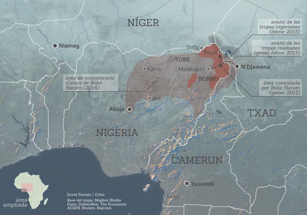 Territori controlat per Boko Haram a Nigèria / DAVID FOURNIÈS