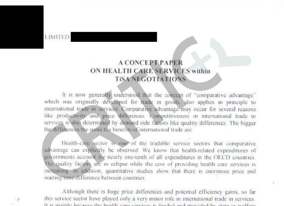 Document filtrat a la plataforma Filtrala sobre les negociacions del TISA